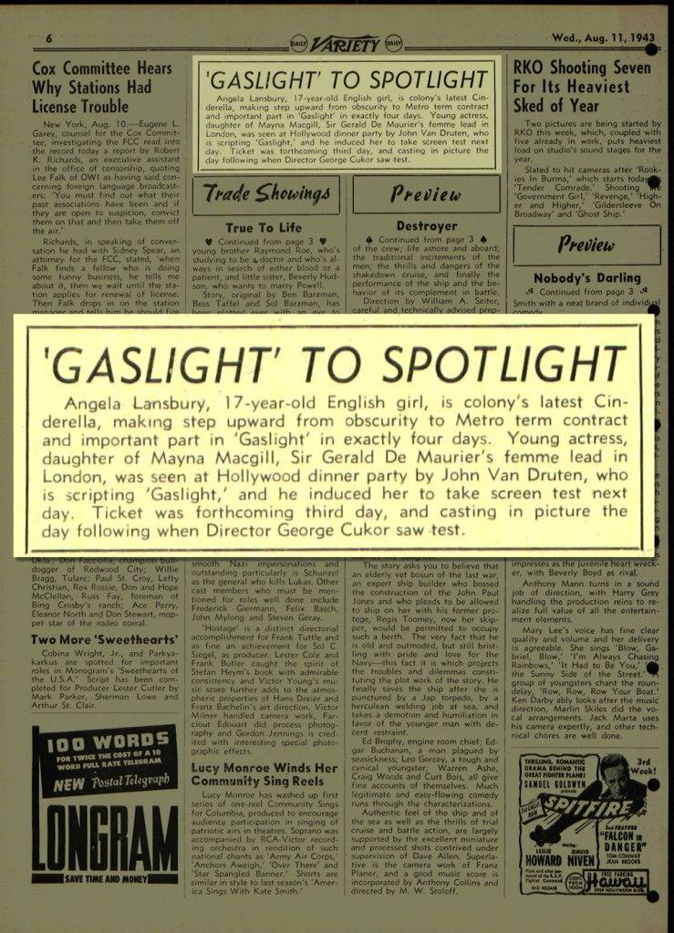 Angela Landsbury Gaslight to Spotlight