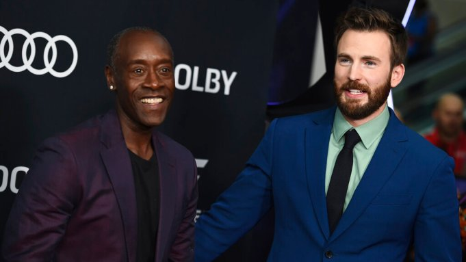 Don Cheadle, left, and Chris Evans