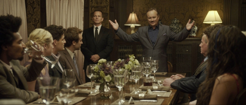 WOULD YOU RATHER, seated l-r: Eddie Steeples, Brittany Snow, Enver Gjokaj, standing center: Jeffrey Combs, seated right: John Heard, 2012, ©IFC Midnight/courtesy Everett Collection