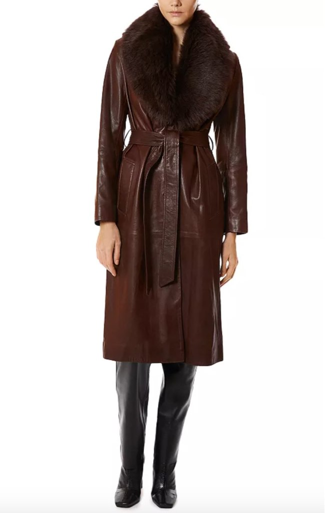 Uptown Girl Shearling Collar Trench Coat