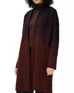 Ombre Open Front Wool Coat