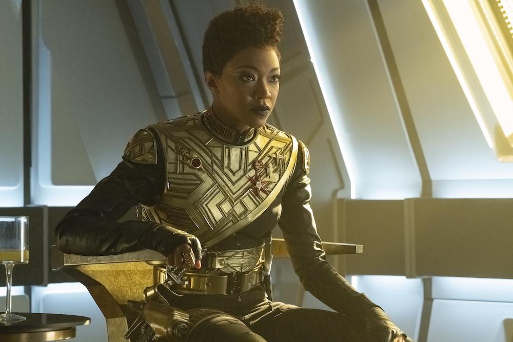 Sonequa Martin-Green as Michael Burnham in the Mirror Universe during Star Trek Discovery's return to the mirror universe