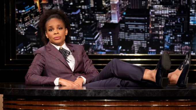 """THE AMBER RUFFIN SHOW -- """"November 20, 2020"""" Episode 108 -- Pictured: Amber Ruffin -- (Photo by: Virginia Sherwood/Peacock)"""