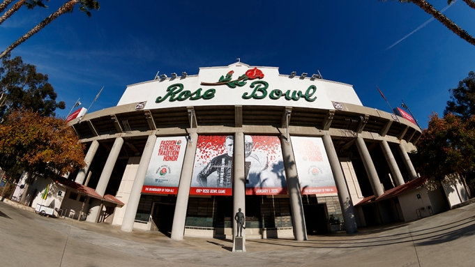 A general view of the Rose Bowl stadium prior to the Rose Bowl NCAA college football game between the Oregon Ducks and the Wisconsin Badgers, Wednesday, Jan. 1, 2020, in Pasadena, Calif. (Ryan Kang via AP)