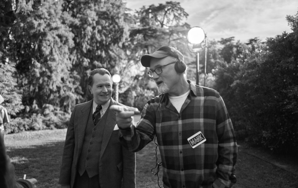 MANK, from left: Gary Oldman, director David Fincher, on set, 2020. ph: Miles Crist / © Netflix / Courtesy Everett Collection