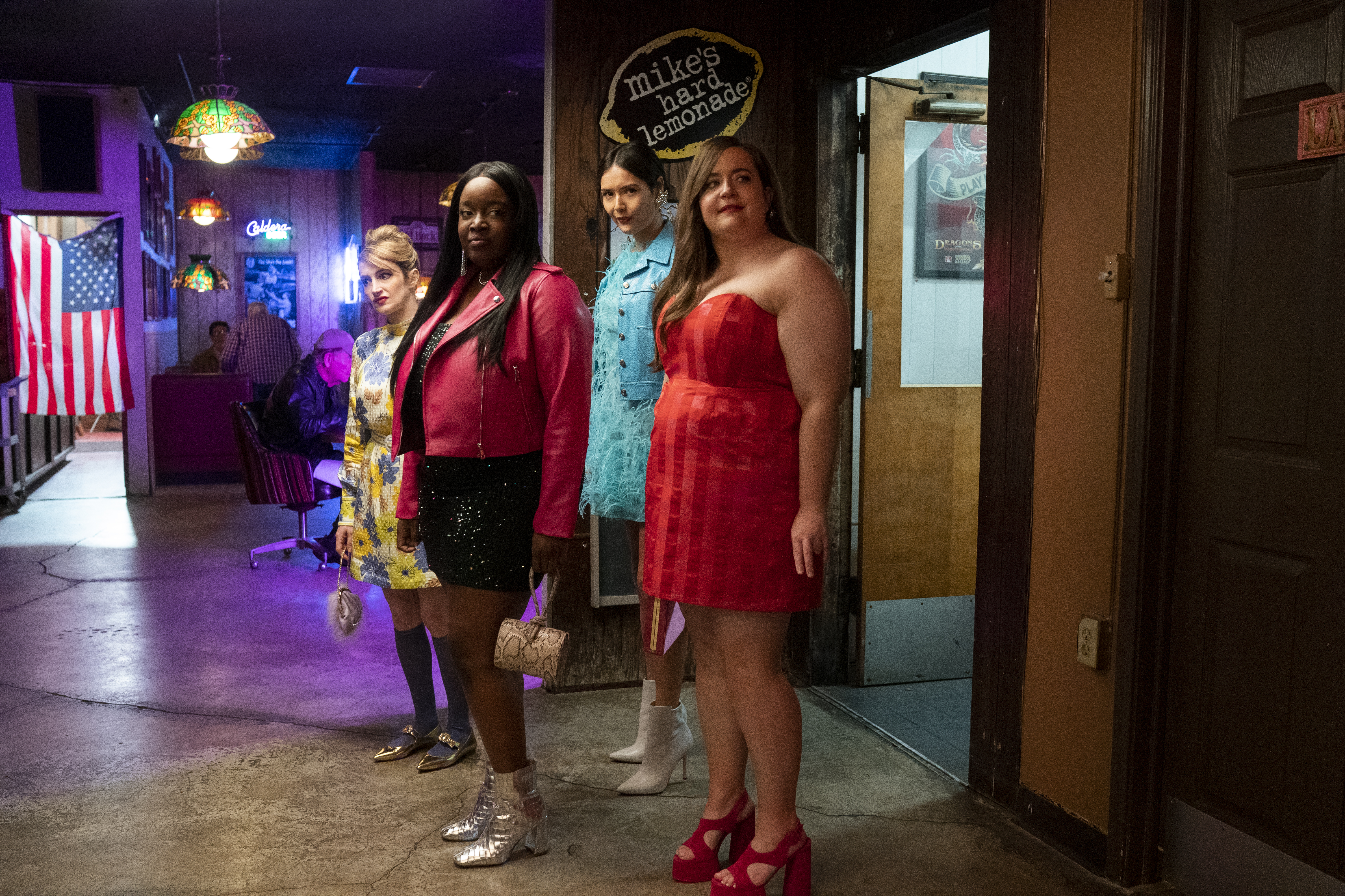 SHRILL -- Episode 303 - Annie demands more hard-hitting assignments at the Thorn's annual creative retreat. Fran has trouble making friends at her new job. Annie, Fran, Ruthie, and Maureen have a girls' night out to help Annie get her mind off Nick. Maureen (Jo Firestone), Fran (Lolly Adefope), Ruthie (Patti Harrison), Annie (Aidy Bryant), shown. (Photo by: Allyson Riggs/Hulu)