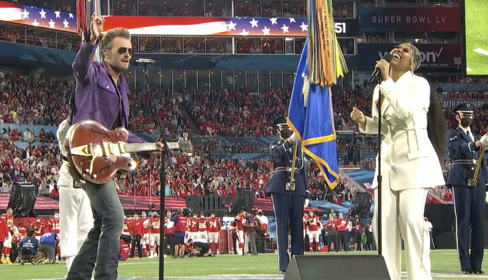 Watch Eric Church and Jazmine Sullivan's Soulful, Syncopated Super Bowl National Anthem; H.E.R. Shreds on 'America the Beautiful' - Variety