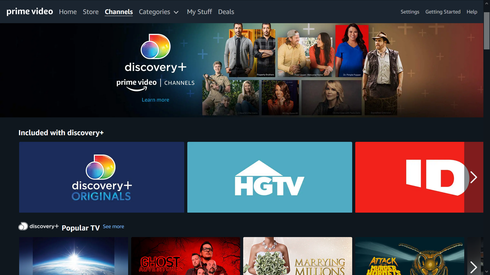Discovery Plus Now on Amazon Prime Video Channels - Variety