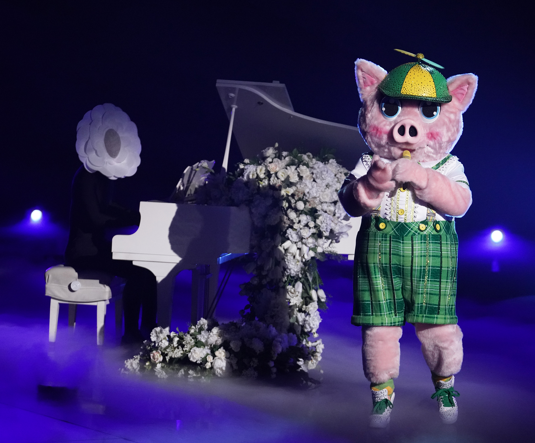 """THE MASKED SINGER: Piglet in the """"The Spicy Six - The Competition Heats Up!"""" episode of THE MASKED SINGER airing Wednesday, May 5 (8:00-9:00 PM ET/PT), © 2021 FOX MEDIA LLC. CR: Michael Becker/FOX."""