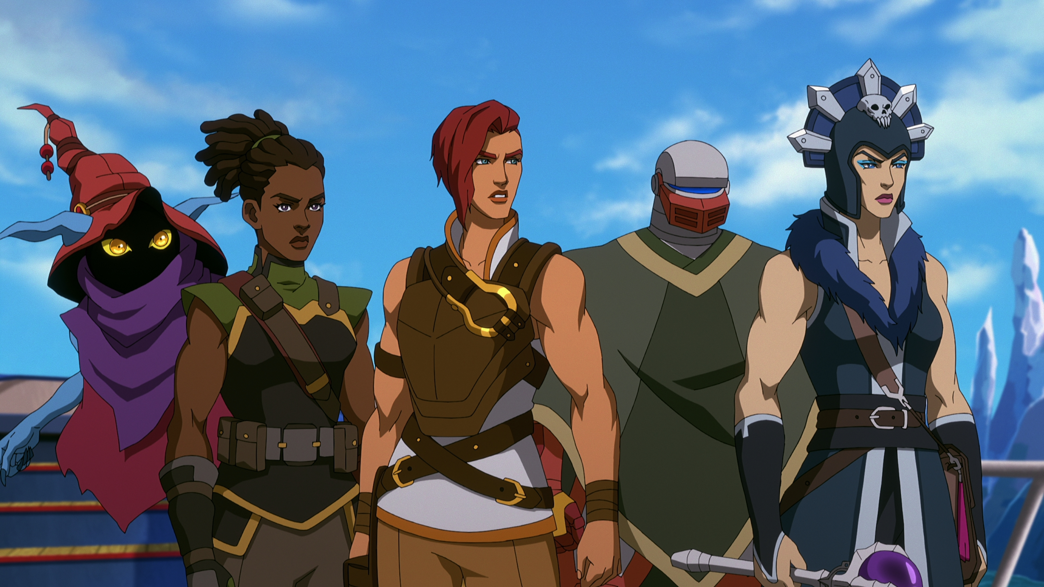 In a CG animated still from Masters of the Universe: Revelation, Orko, Andra, Teela, Roboto and Evil-Lyn stand in a line looking off to their left, serious expressions on their faces. Orko floats mid-air, blue arms and ears visible with face shadowed beneath a red hat and purple scarf. Andra, a dark-skinned female, wears a brown and green military style uniform, hair pulled back. Teela, a light-skinned female with short auburn hair, wears a white top with a brown chest plate and harness. Roboto, a gray robot with a red mouth piece, wears a green cloak. Evil-Lyn, a light-skinned female, wears a blue and silver headpiece with a skull in the center and a blue and brown military style uniform, crystal-orb wand in her right hand at her side. A blue sky and icy landscape are visible behind them.
