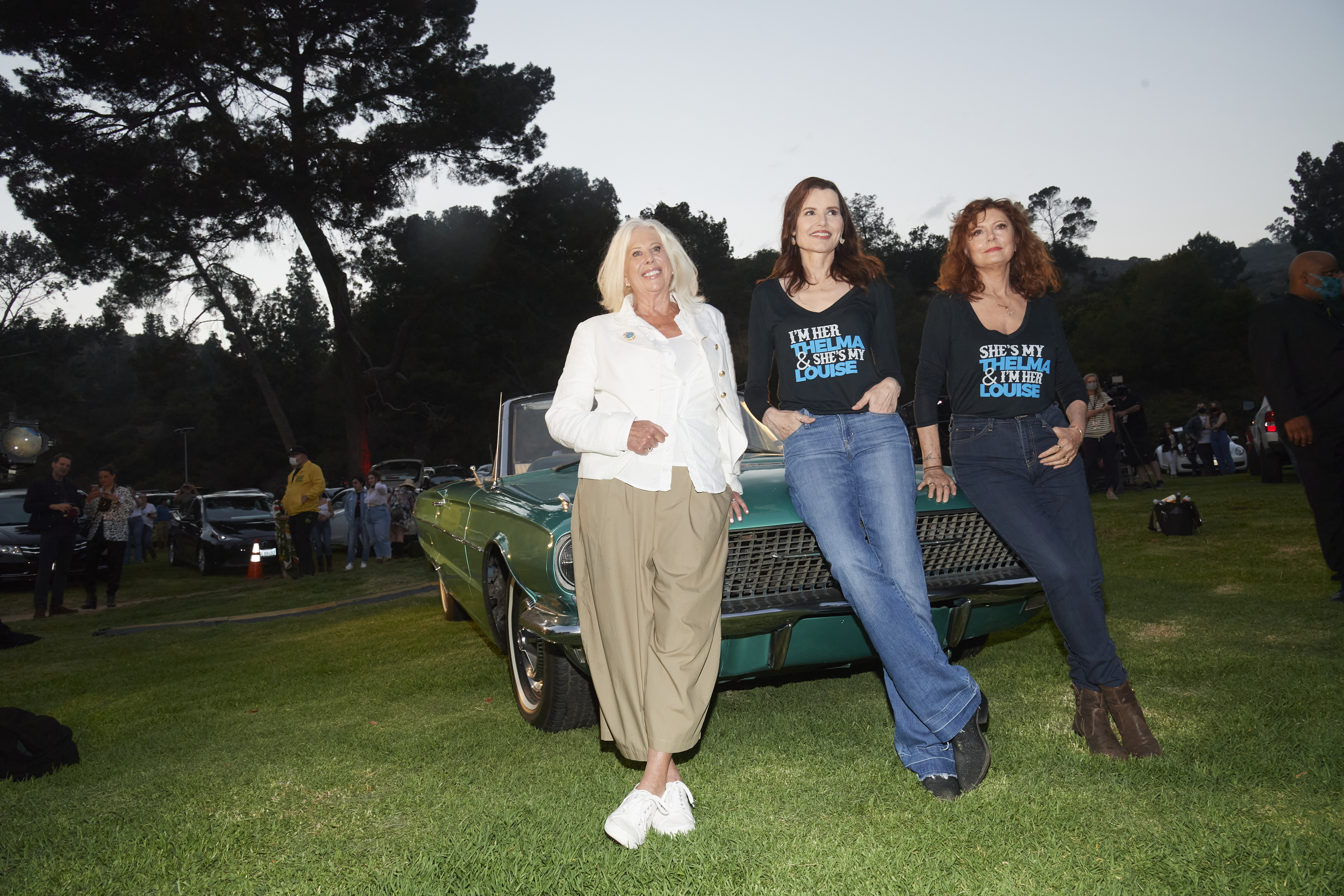 """Callie Khouri, Geena Davis and Susan Sarandon attend the 30th Anniversary screening of 'Thelma and Louise"""" at Cinespia at the Greek Theatre on June 18, 2021."""