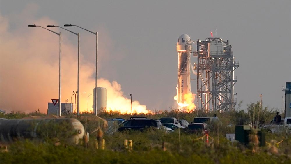Image of Jeff Bezos blasting into space