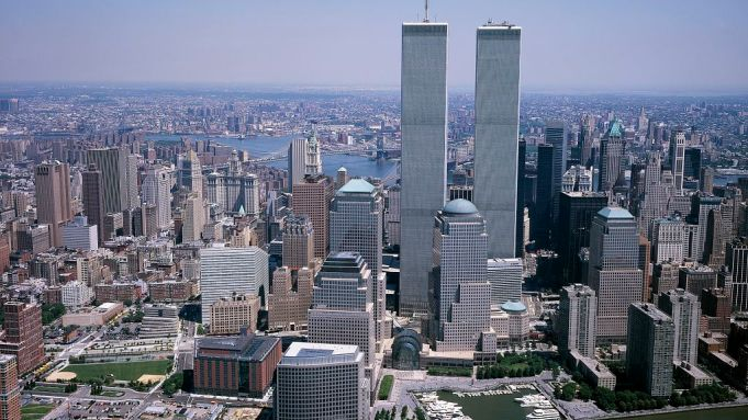 The world trade center is seen