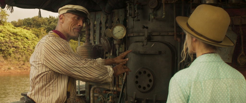 Dwayne Johnson as Frank Wolff and Emily Blunt as Lily Houghton in Disney's JUNGLE CRUISE. Photo courtesy of Disney. © 2021 Disney Enterprises, Inc. All Rights Reserved.