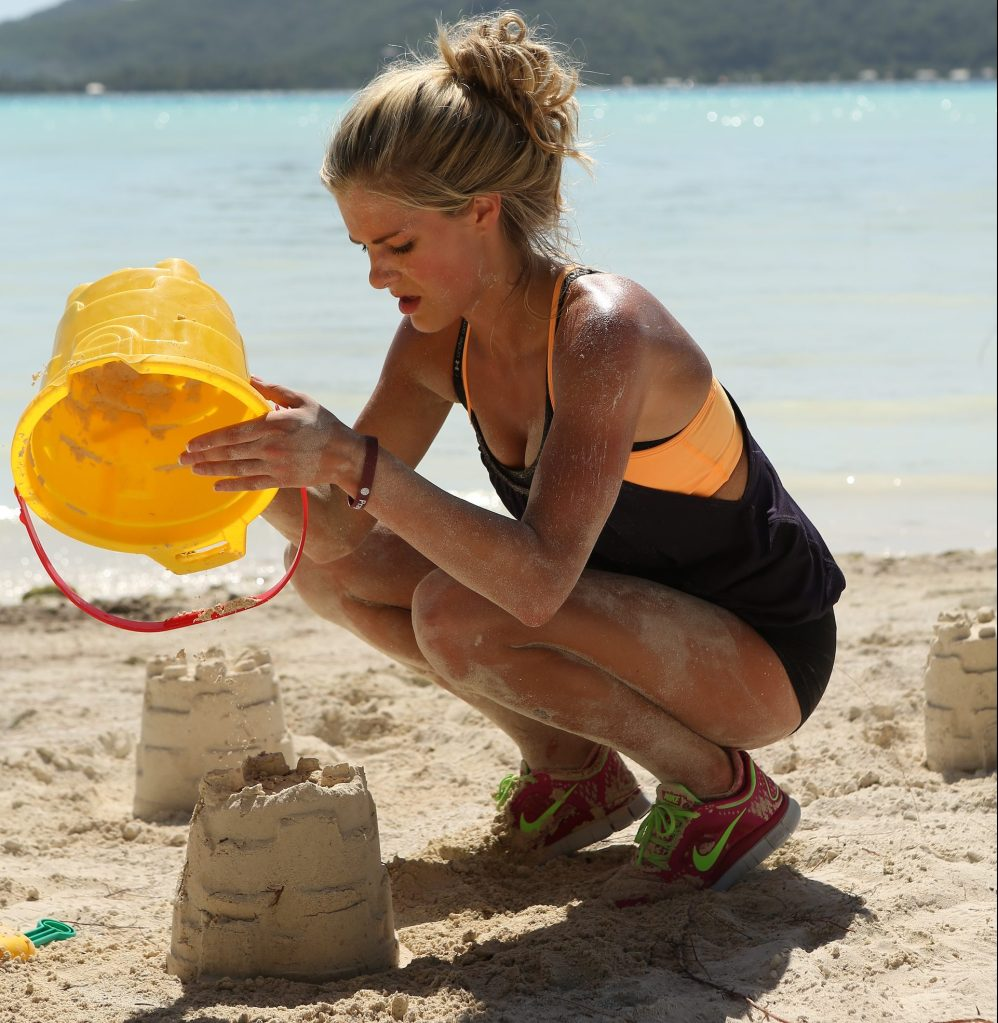"""""""The Start"""" -- In the Road Block, Katie must search hundreds of sand castles in order to find the next clue on THE AMAZING RACE, premiering Sunday, Feb. 17 (8:00-9:00 PM, ET/PT) on the CBS Television Network. Photo: Robert Voets/CBS ©2013 CBS Broadcasting, Inc. All Rights Reserved."""