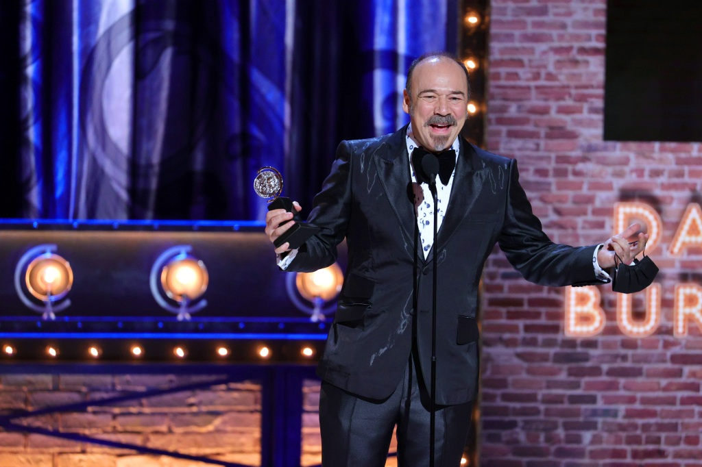 """NEW YORK, NEW YORK - SEPTEMBER 26: Danny Burstein accepts the award for Best Performance by an Actor in a Featured Role in a Musical for """"Moulin Rouge! The Musical"""" onstage during the 74th Annual Tony Awards at Winter Garden Theatre on September 26, 2021 in New York City. (Photo by Theo Wargo/Getty Images for Tony Awards Productions)"""