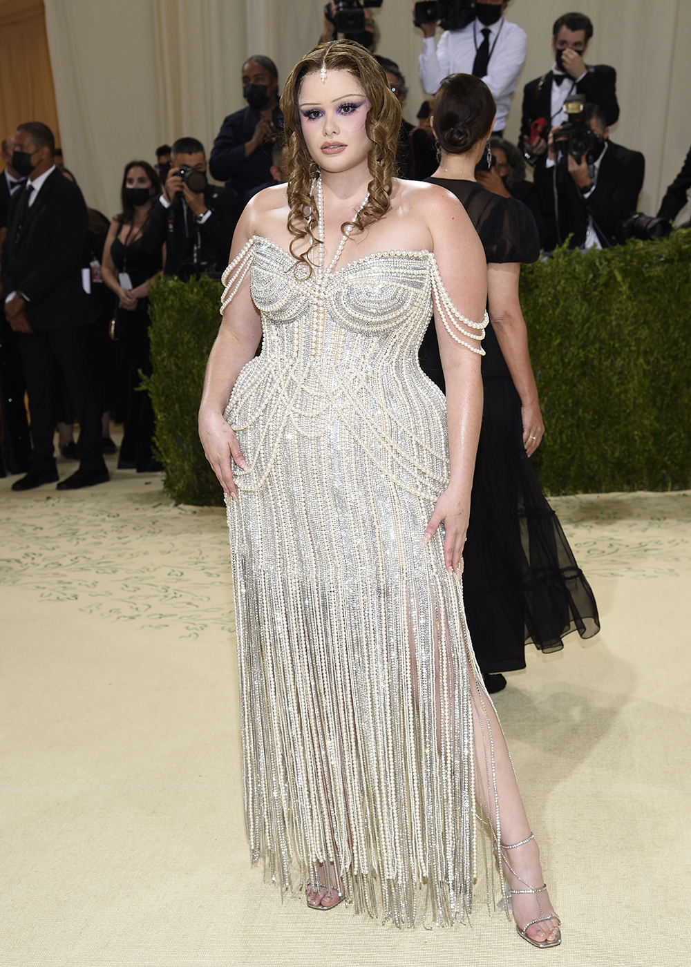 """Barbie Ferreira attends The Metropolitan Museum of Art's Costume Institute benefit gala celebrating the opening of the """"In America: A Lexicon of Fashion"""" exhibition on Monday, Sept. 13, 2021, in New York. (Photo by Evan Agostini/Invision/AP)"""