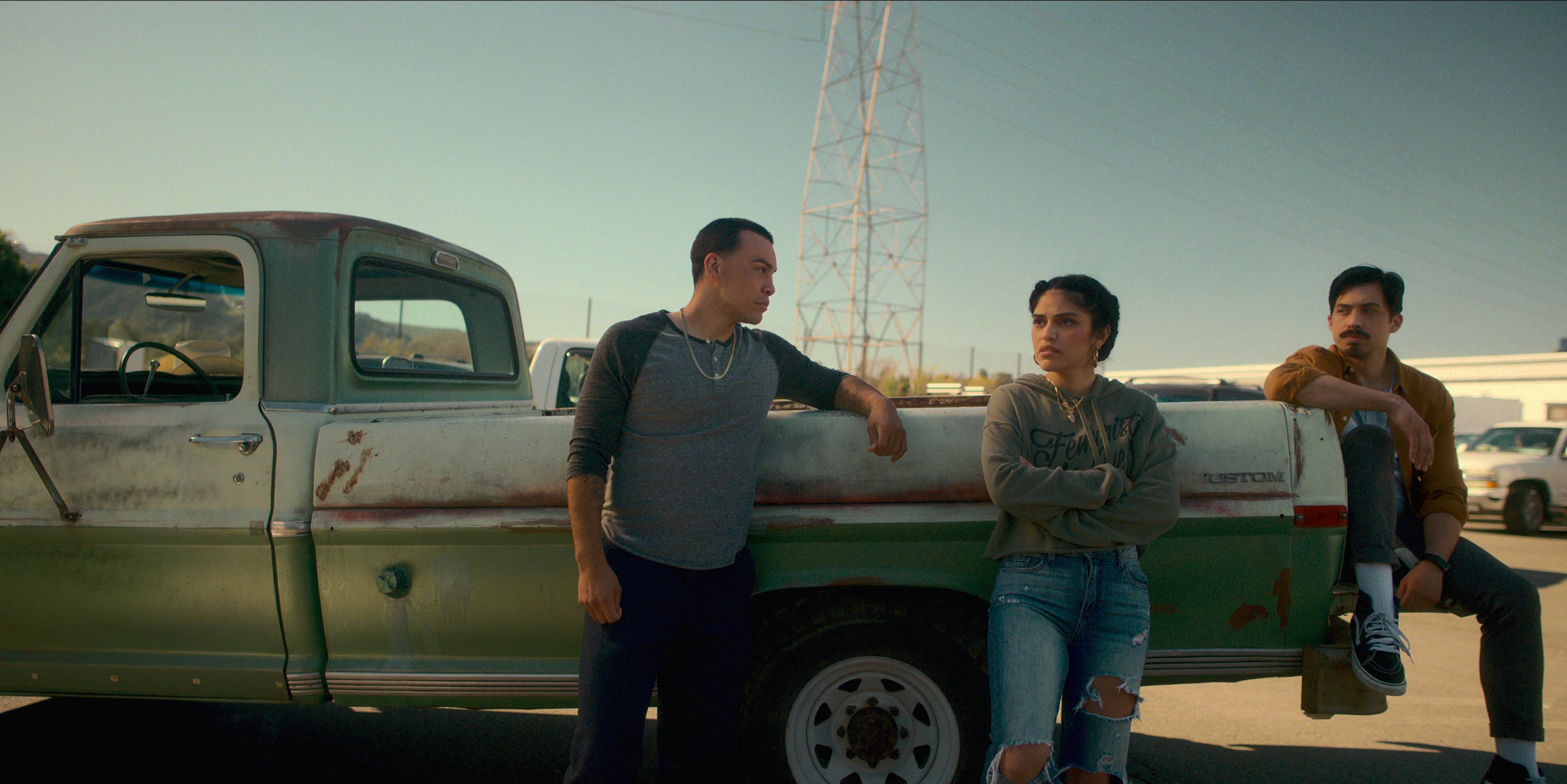 Gentefied Season 2 (L-R). JJ Soria as Erik, Karrie Martin as Ana, Carlos Santos as Chris, in Gentefied Season 2. COURTESY OF NETFLIX/Netflix © 2021