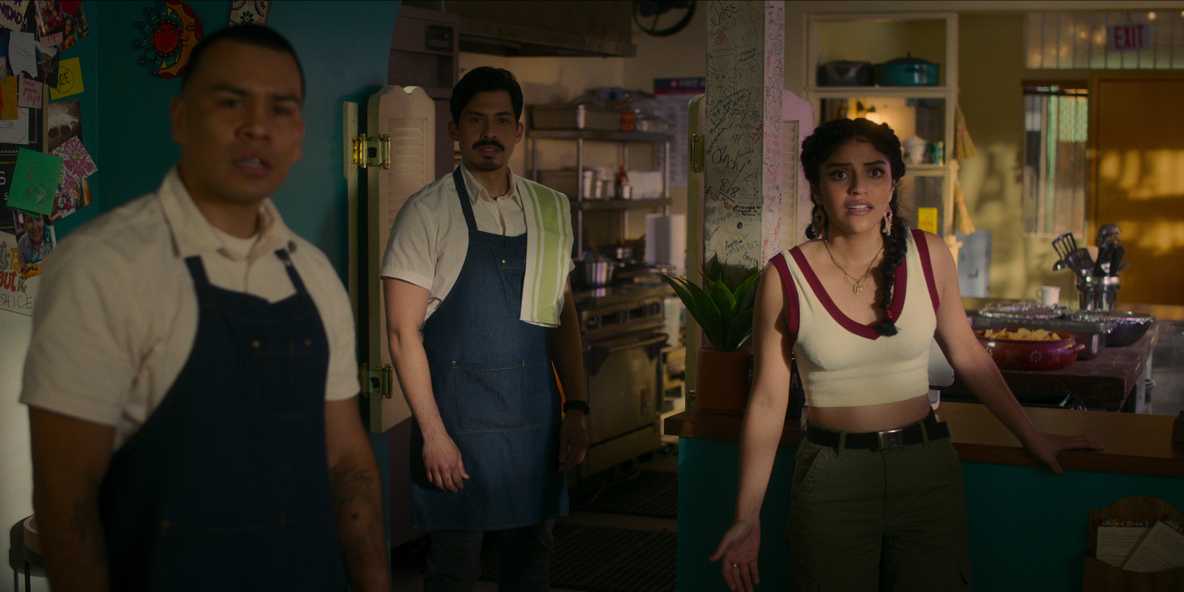 Gentefied Season 2 (L-R). JJ Soria as Erik, Carlos Santos as Chris, Karrie Martin as Ana. in Gentefied Season 2. COURTESY OF NETFLIX/Netflix © 2021
