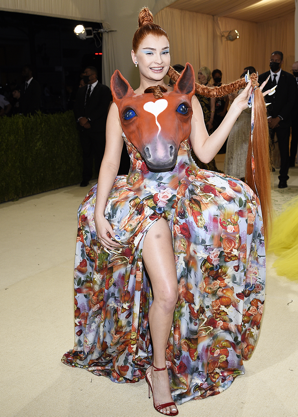 """Kim Petras attends The Metropolitan Museum of Art's Costume Institute benefit gala celebrating the opening of the """"In America: A Lexicon of Fashion"""" exhibition on Monday, Sept. 13, 2021, in New York. (Photo by Evan Agostini/Invision/AP)"""