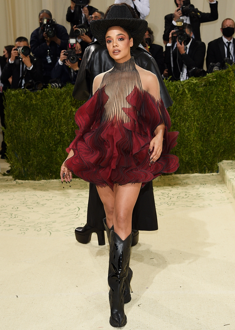 """Tessa Thompson attends The Metropolitan Museum of Art's Costume Institute benefit gala celebrating the opening of the """"In America: A Lexicon of Fashion"""" exhibition on Monday, Sept. 13, 2021, in New York. (Photo by Evan Agostini/Invision/AP)"""