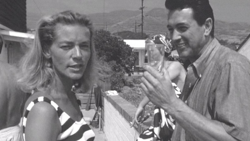 SCOTTY AND THE SECRET HISTORY OF HOLLYWOOD, from left: Lauren Bacall, Rock Hudson in 1965, 2017. © Greenwich Entertainment /Courtesy Everett Collection