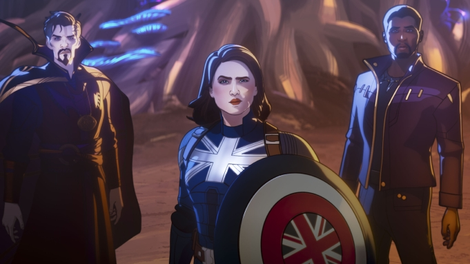 Doctor Strange Supreme, Captain Carter, and TChalla in Marvel Studios' WHAT IF&? exclusively on Disney+. ©Marvel Studios 2021. All Rights