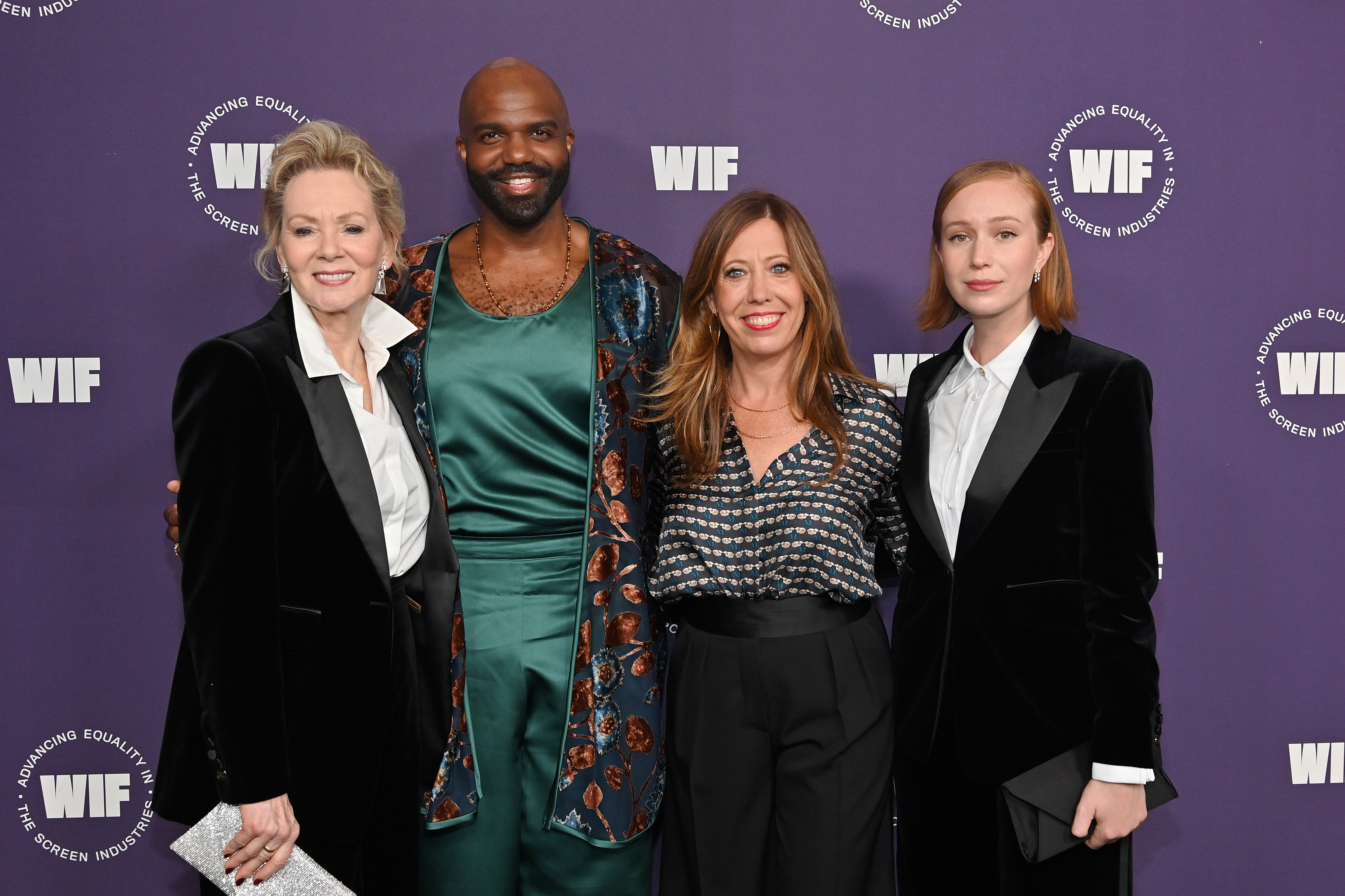 LOS ANGELES, CALIFORNIA - OCTOBER 06: (L-R) Crystal Award Honoree Jean Smart, wearing Max Mara, Carl Clemons-Hopkins, WIF Executive Director Kirsten Schaffer and Crystal Award Honoree Hannah Einbinder, wearing Max Mara, attends the Women in Film Honors: Trailblazers of the New Normal sponsored by Max Mara, ShivHans Pictures, and Lexus at the Academy Museum of Motion Pictures on October 06, 2021 in Los Angeles, California. (Photo by Stefanie Keenan/Getty Images for Women In Film (WIF))