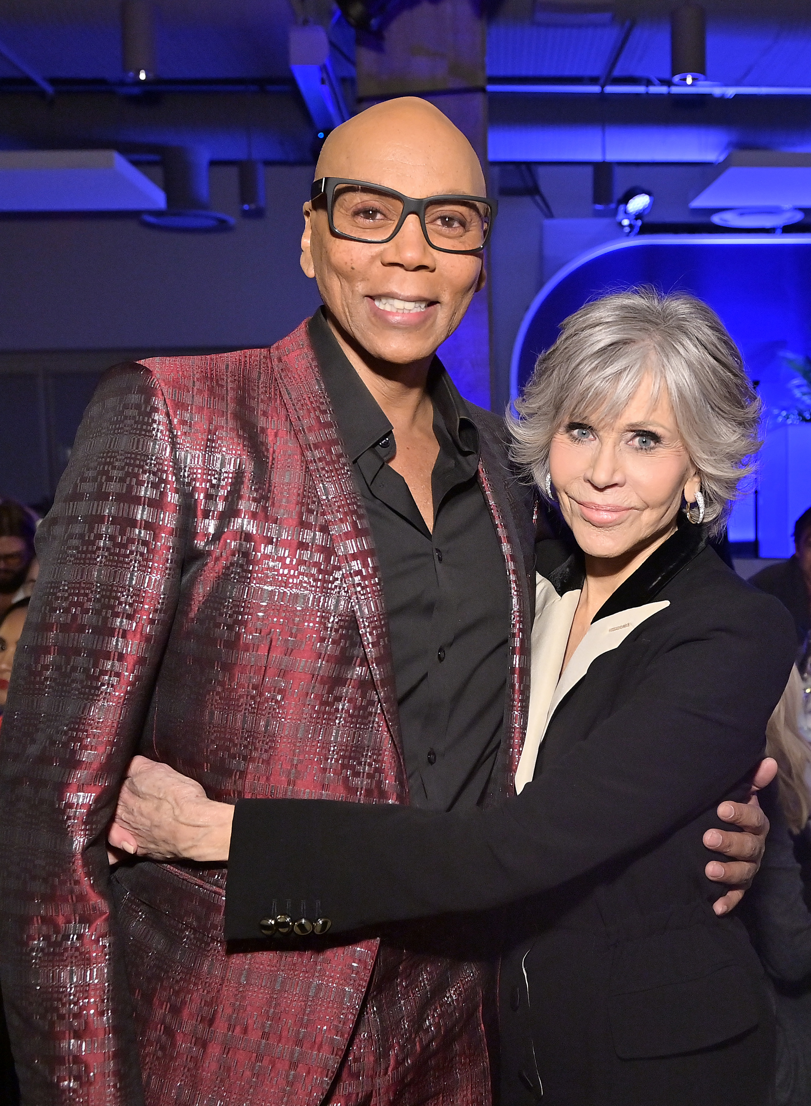 LOS ANGELES, CALIFORNIA - OCTOBER 06: (L-R) RuPaul and Honoree Jane Fonda attend the Women in Film Honors: Trailblazers of the New Normal sponsored by Max Mara, ShivHans Pictures, and Lexus at the Academy Museum of Motion Pictures on October 06, 2021 in Los Angeles, California. (Photo by Stefanie Keenan/Getty Images for Women In Film (WIF))