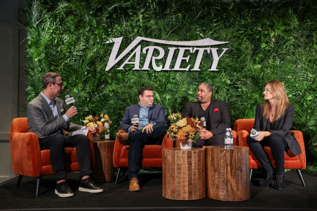 NEW YORK, NEW YORK - OCTOBER 12: Eric Piecuch, Matt Ross, Brian Moreland and Lia Vollack speak onstage during Variety LEGIT!: Return to Broadway presented by City National Bank at Second on October 12, 2021 in New York City. (Photo by Dimitrios Kambouris/Getty Images for Variety)