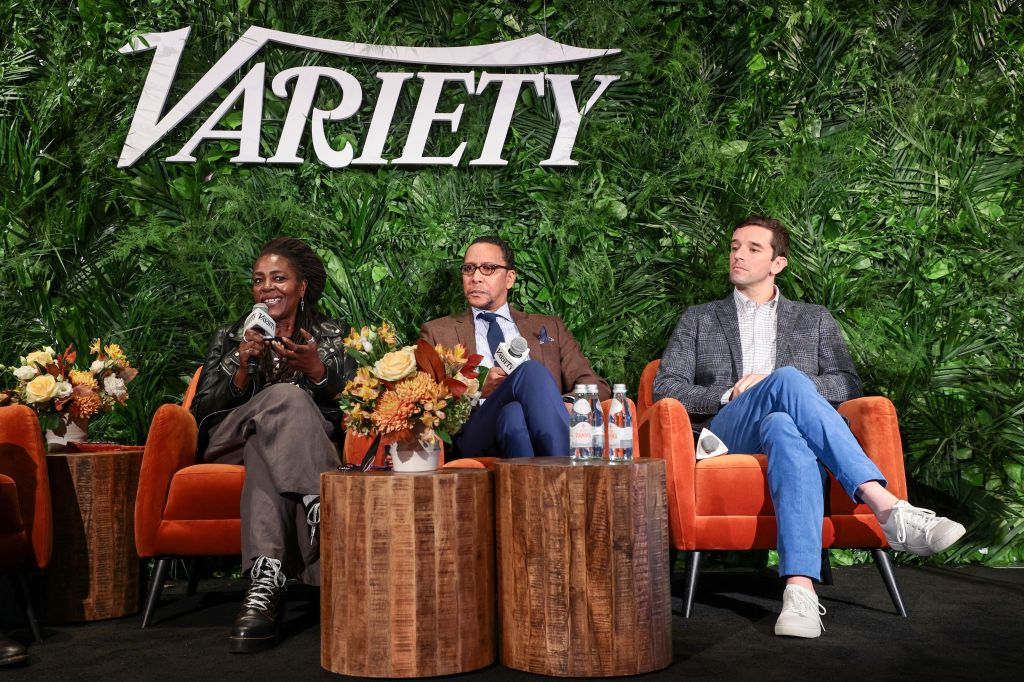 NEW YORK, NEW YORK - OCTOBER 12: Sharon D. Clarke, Ron Cephas Jones and Michael Urie speak onstage during Variety LEGIT!: Return to Broadway presented by City National Bank at Second on October 12, 2021 in New York City. (Photo by Dimitrios Kambouris/Getty Images for Variety)